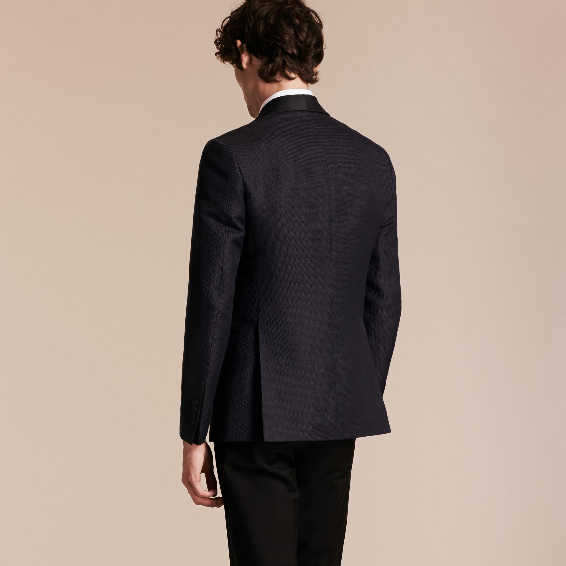 Slim Fit Shawl Lapel Linen Silk Evening Jacket Navy - gallery image 3