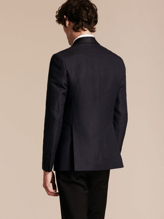 Slim Fit Shawl Lapel Linen Silk Evening Jacket Navy - cell image 2