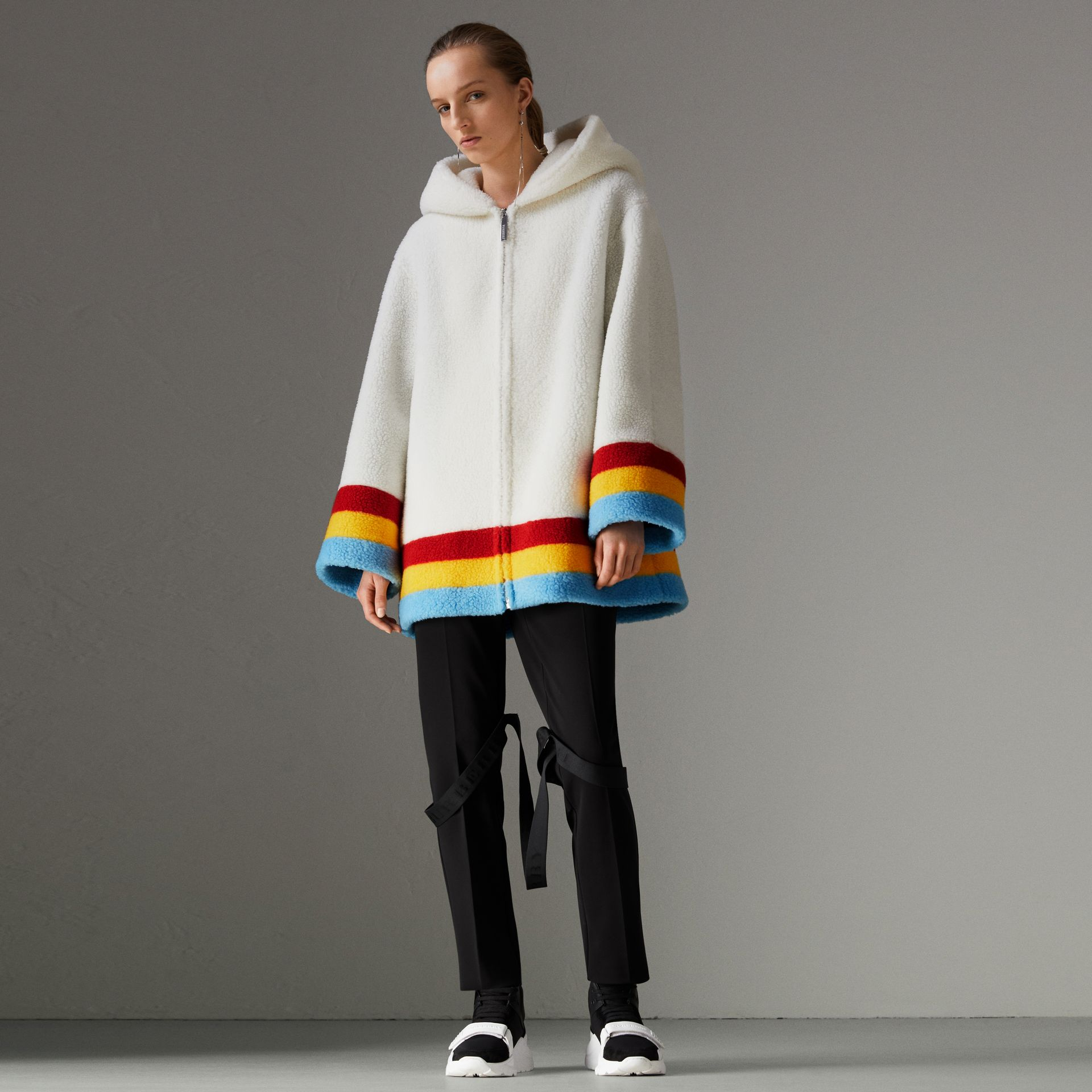 Faux Shearling Oversized Hooded Jacket in Off White - Women | Burberry - gallery image 0