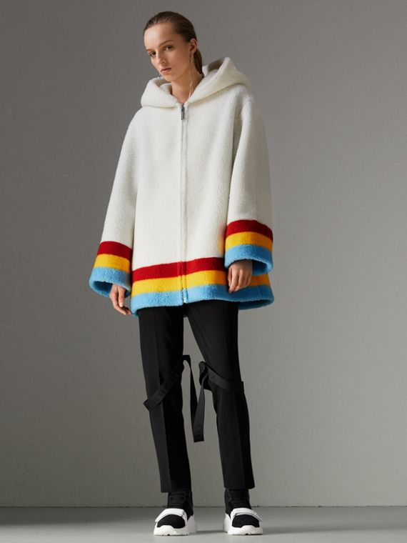 Striped Detail Faux Shearling Hooded Jacket in Off White
