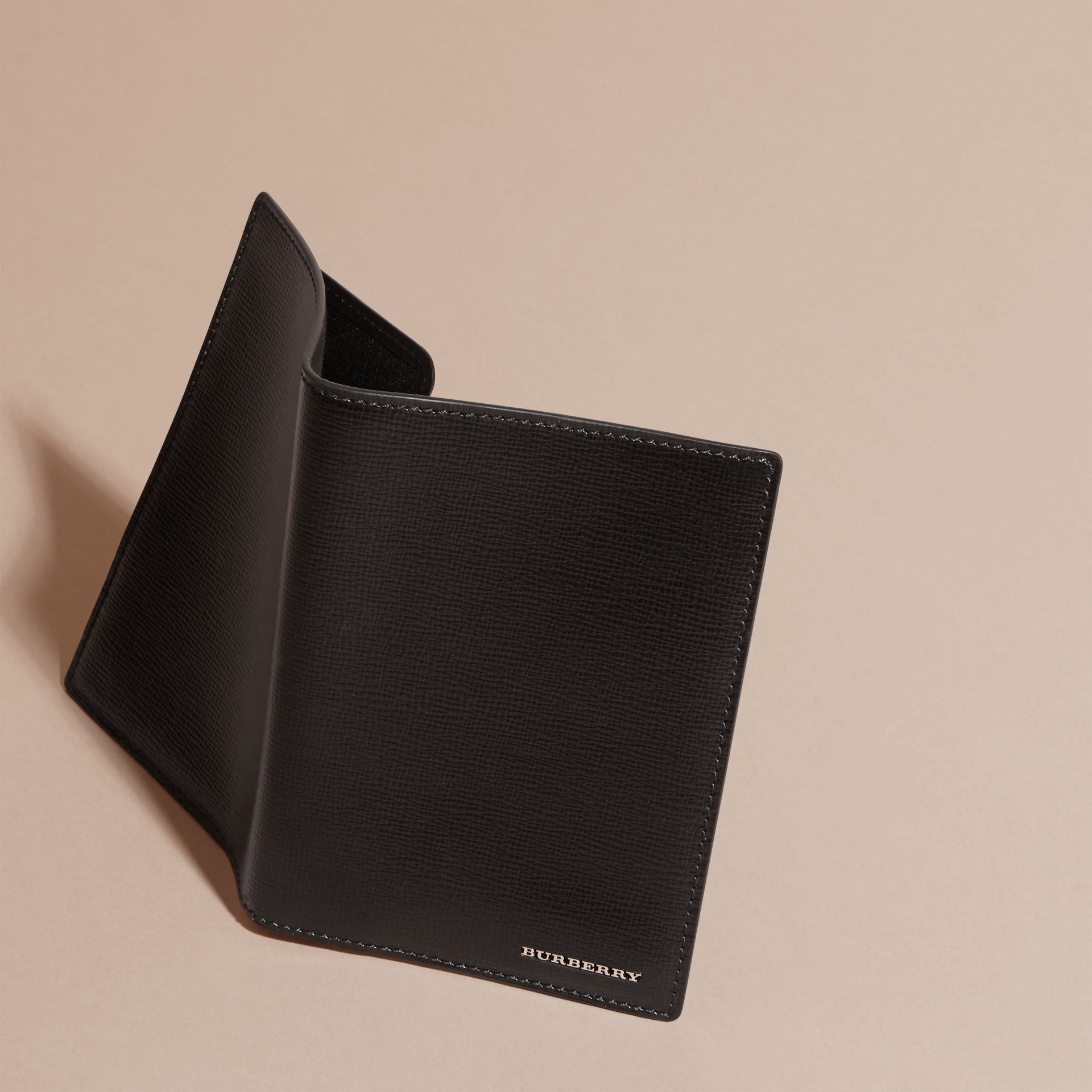 London Leather Passport and Card Holder in Black - Men | Burberry Australia - gallery image 3