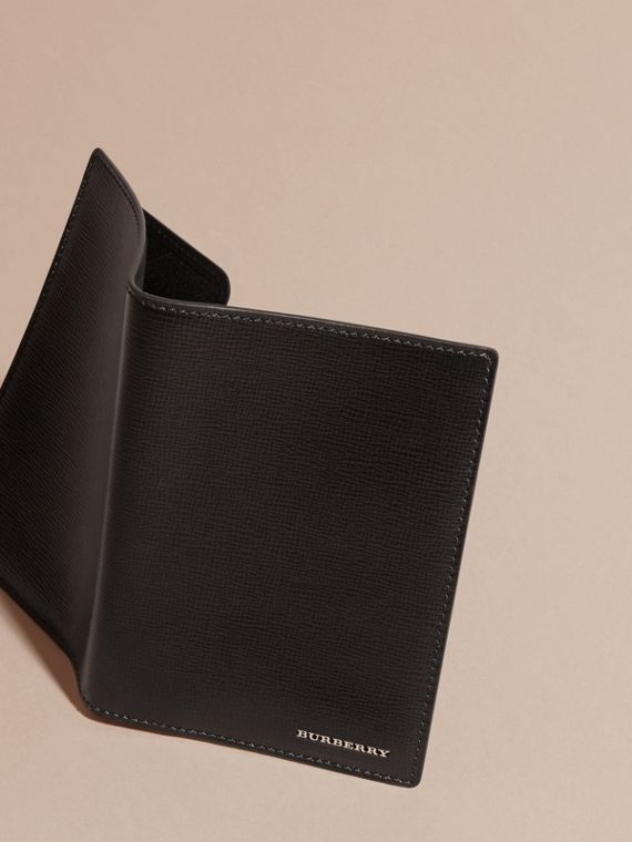 London Leather Passport and Card Holder in Black - Men | Burberry Australia - cell image 2