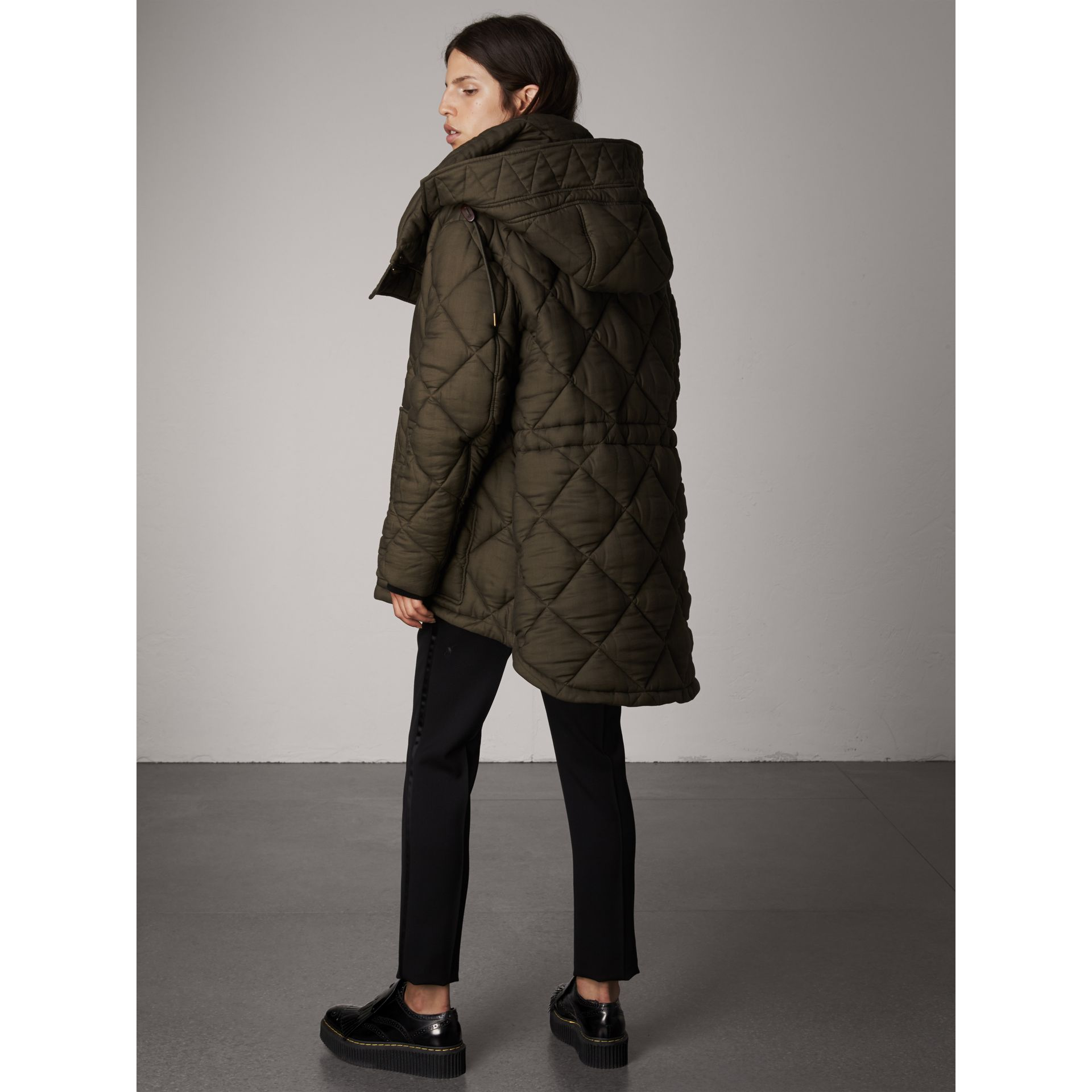 Detachable Hood Oversized Quilted Jacket in Olive - Women | Burberry - gallery image 2