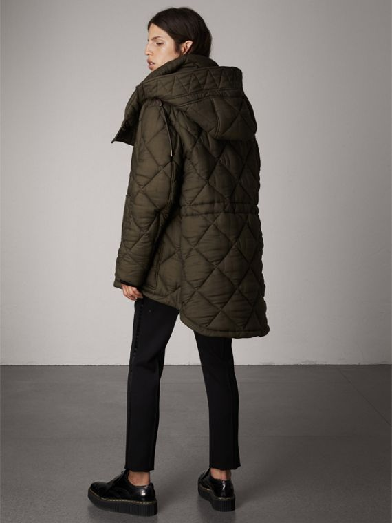Detachable Hood Oversized Quilted Jacket in Olive - Women | Burberry - cell image 2