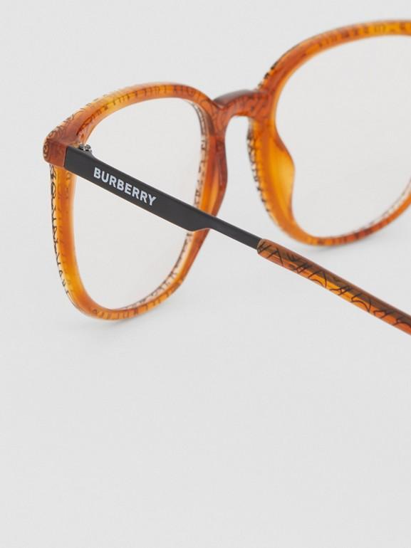 Monture carrée pour lunettes de vue Monogram (Ambre Écaille  Tortue) | Burberry Canada - cell image 1