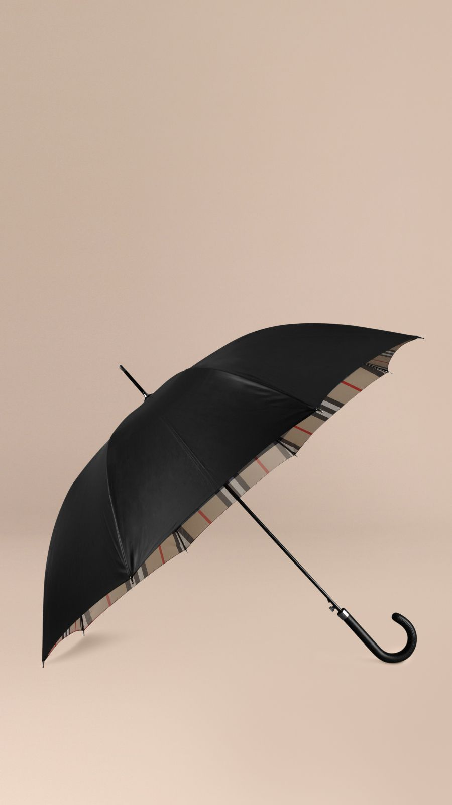 Black camel check Check-Lined Walking Umbrella Black Camel - Image 1