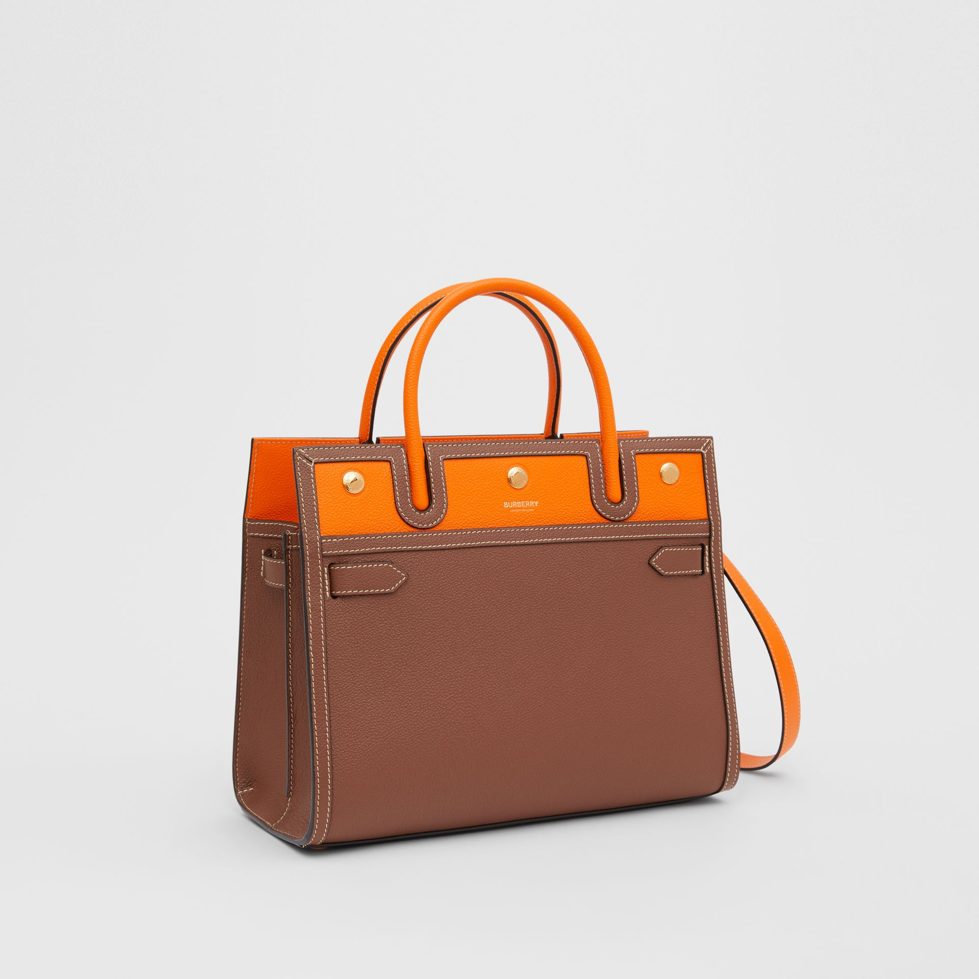 Small Leather Two-handle Title Bag in Tan/bright Orange - Women | Burberry - gallery image 6