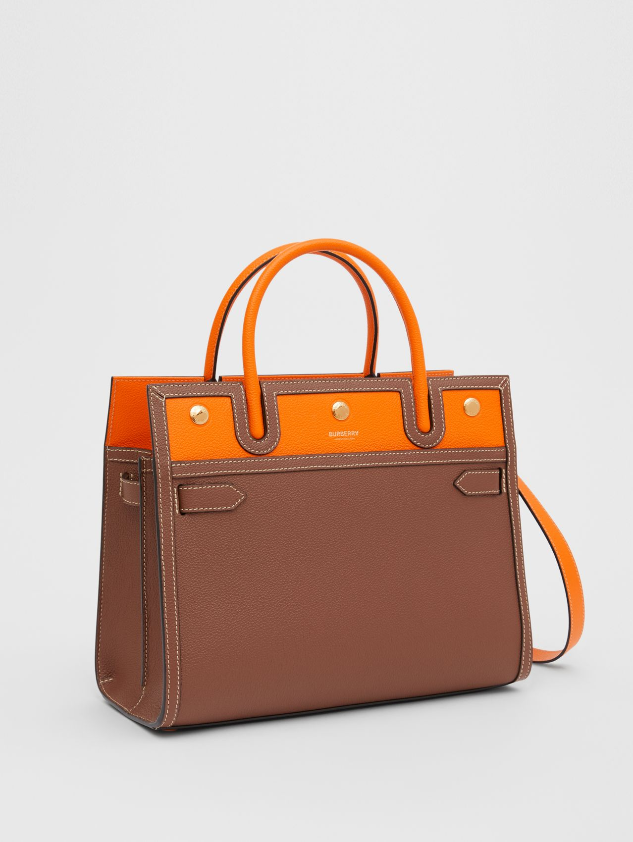Small Leather Two-handle Title Bag in Tan/bright Orange