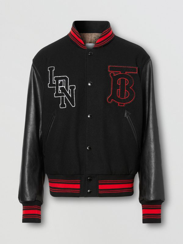 Contrast Sleeve Logo Graphic Wool Bomber Jacket in Black - Men | Burberry - cell image 3