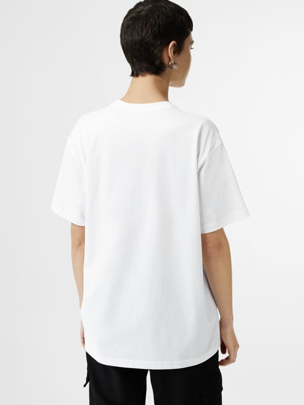 Double Logo Print Cotton Oversized T-shirt in White - Women | Burberry - cell image 2