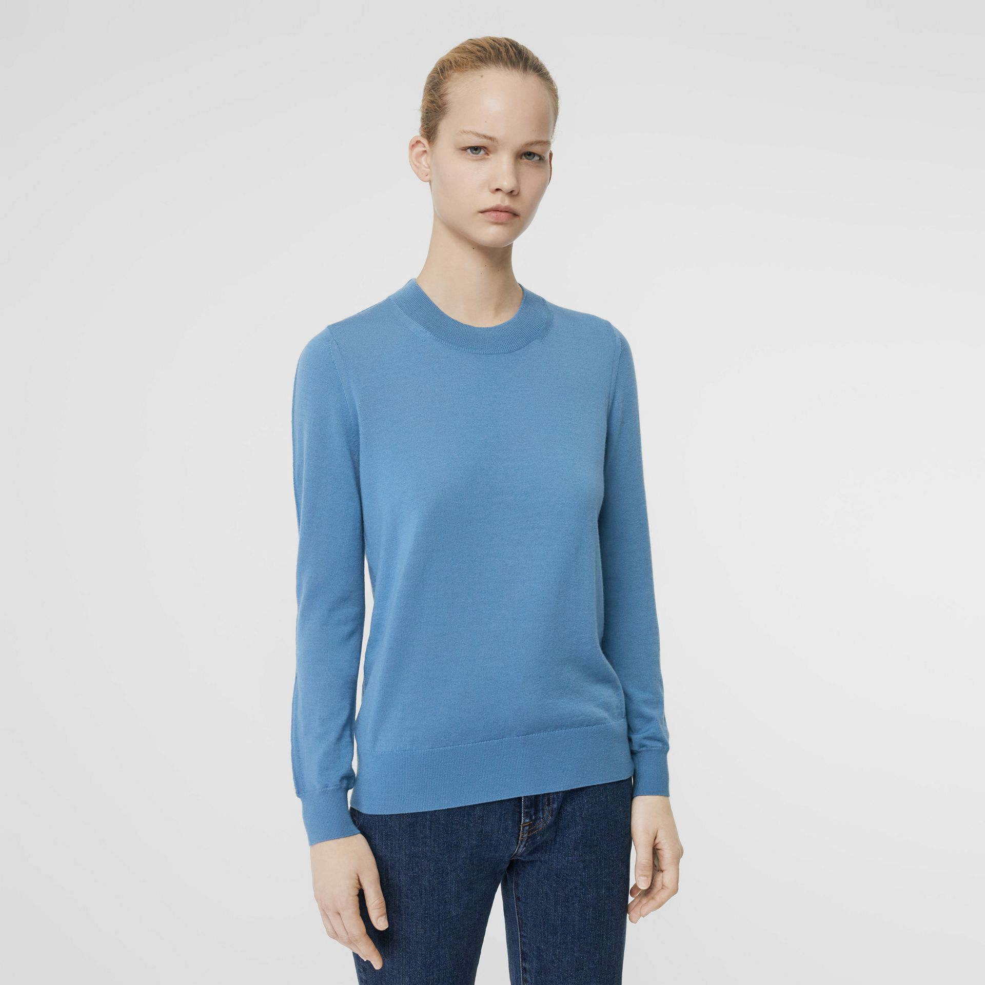 Logo Detail Merino Wool Sweater in Pebble Blue - Women | Burberry - gallery image 4