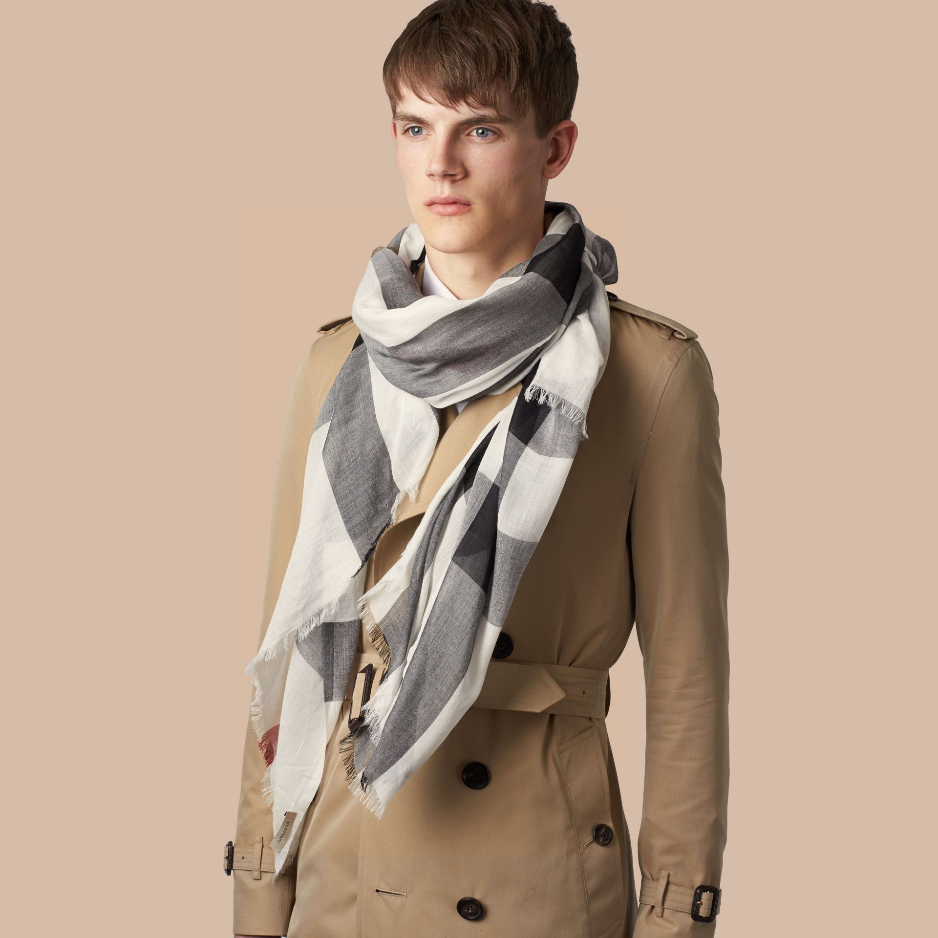 Check Modal Cashmere and Silk Scarf in Ivory - gallery image 3