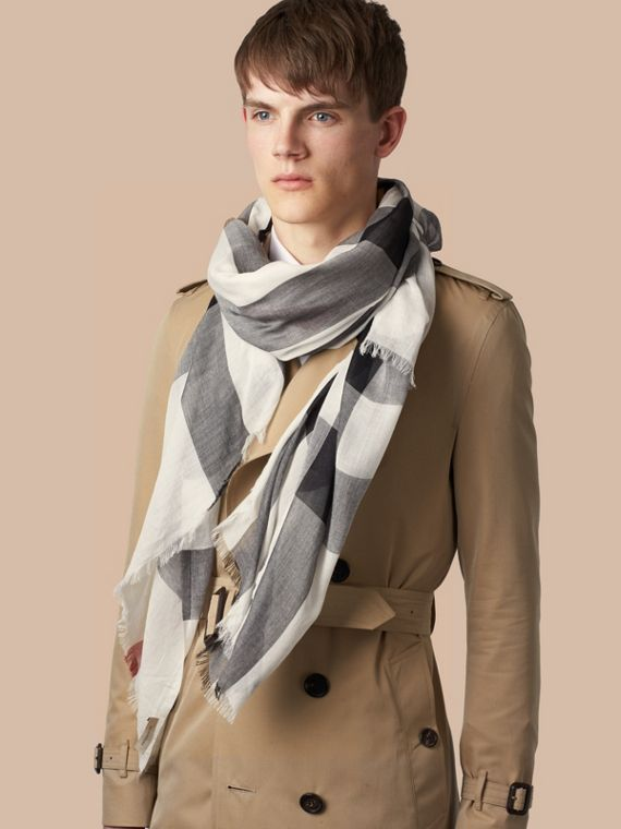 Check Modal Cashmere and Silk Scarf in Ivory - cell image 2