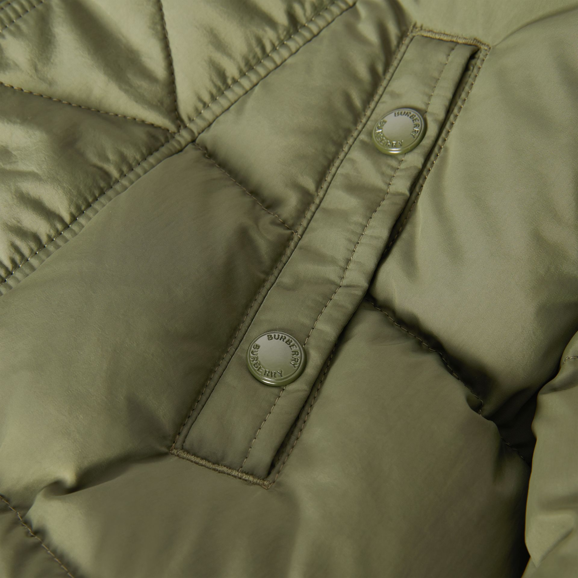 Detachable Hood Down-filled Puffer Coat in Poplar Green | Burberry - gallery image 1