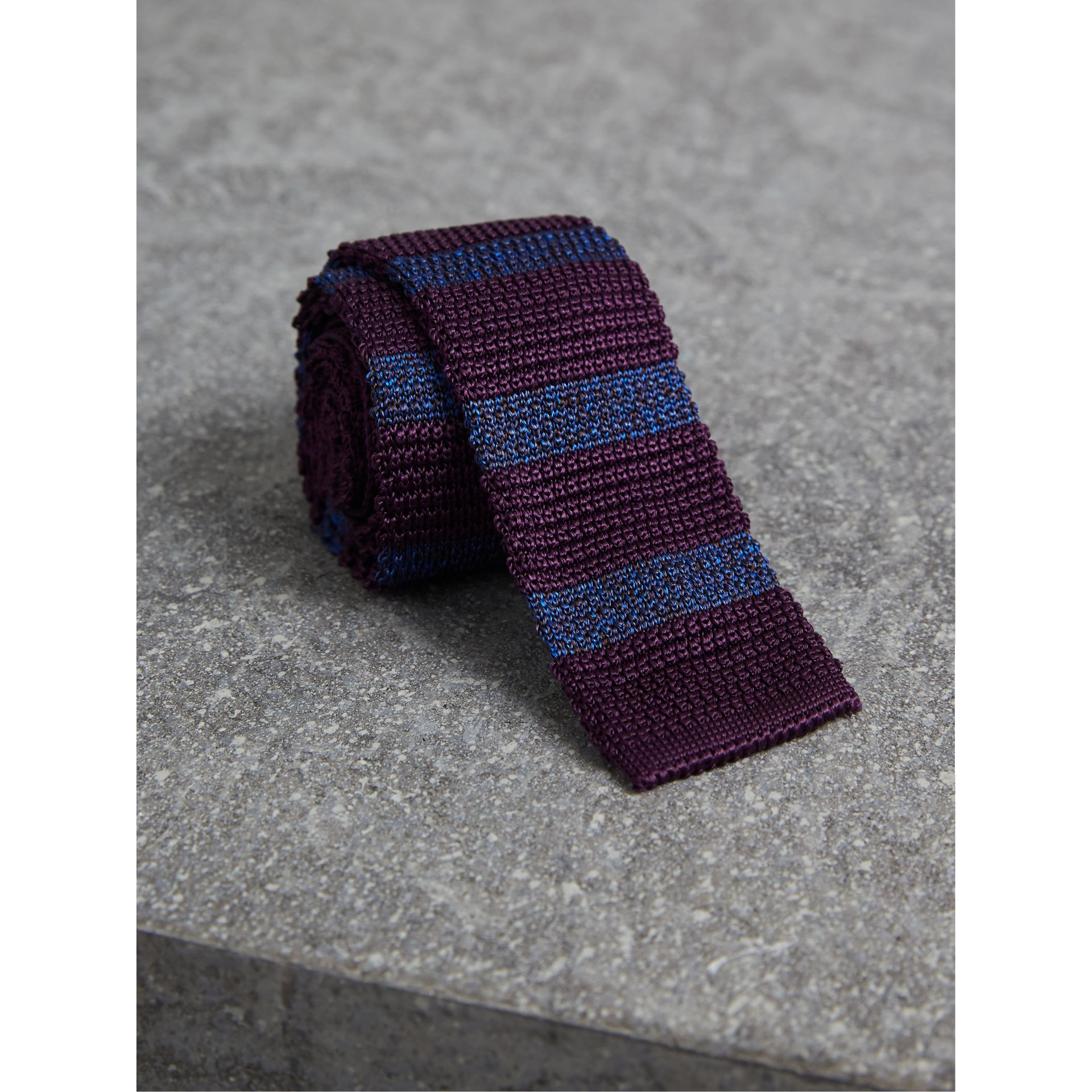 Slim Cut Two-tone Knitted Silk Tie in Heather - Men | Burberry - gallery image 1