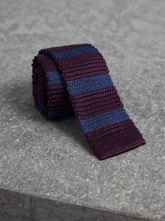 Slim Cut Two-tone Knitted Silk Tie in Heather - Men | Burberry