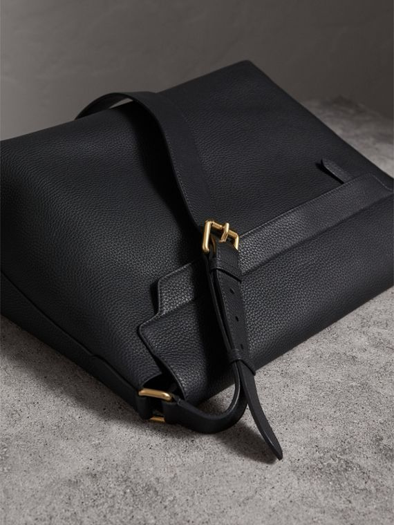 Large Embossed Leather Messenger Bag in Black | Burberry United States - cell image 3