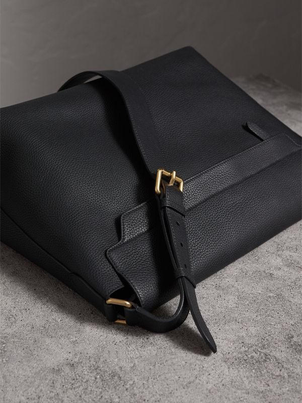 Large Embossed Leather Messenger Bag in Black | Burberry Singapore - cell image 3
