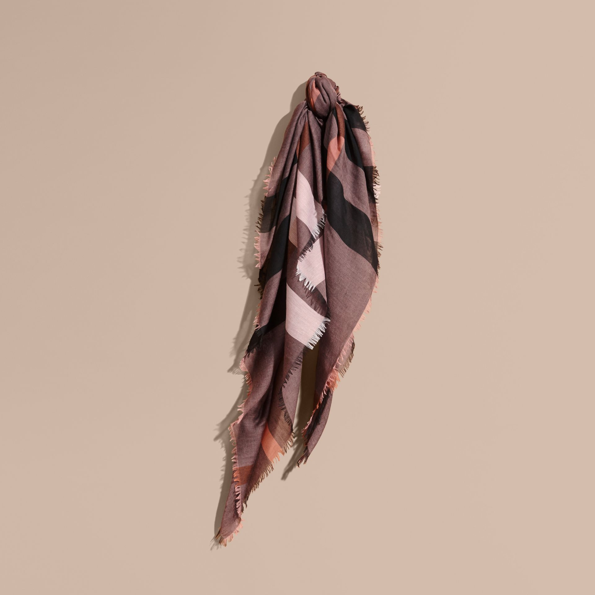 Check Modal and Wool Square Scarf in Antique Rose - gallery image 1