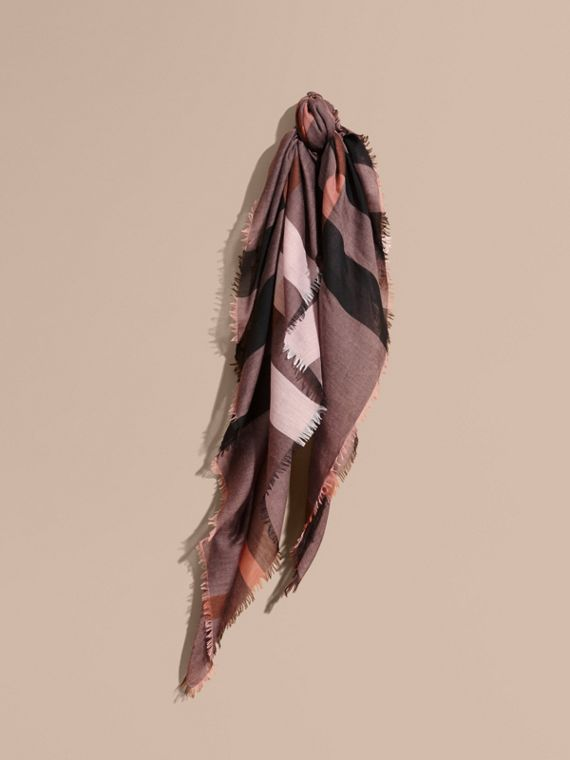 Check Modal and Wool Square Scarf Antique Rose