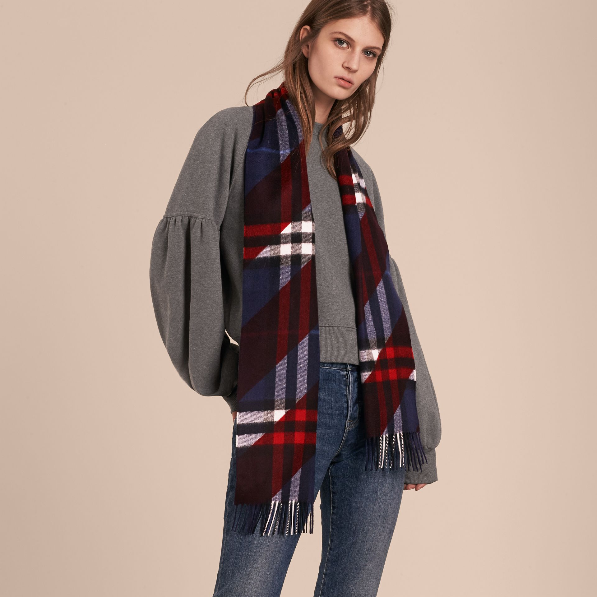 The Classic Cashmere Scarf in Check with Stripe Print - gallery image 3