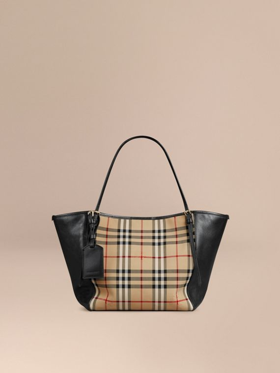 The Small Canter in Horseferry Check and Leather Honey/black