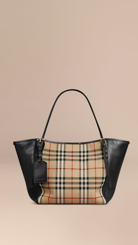 Honey/black The Small Canter in Horseferry Check and Leather Honey/black - Image 1