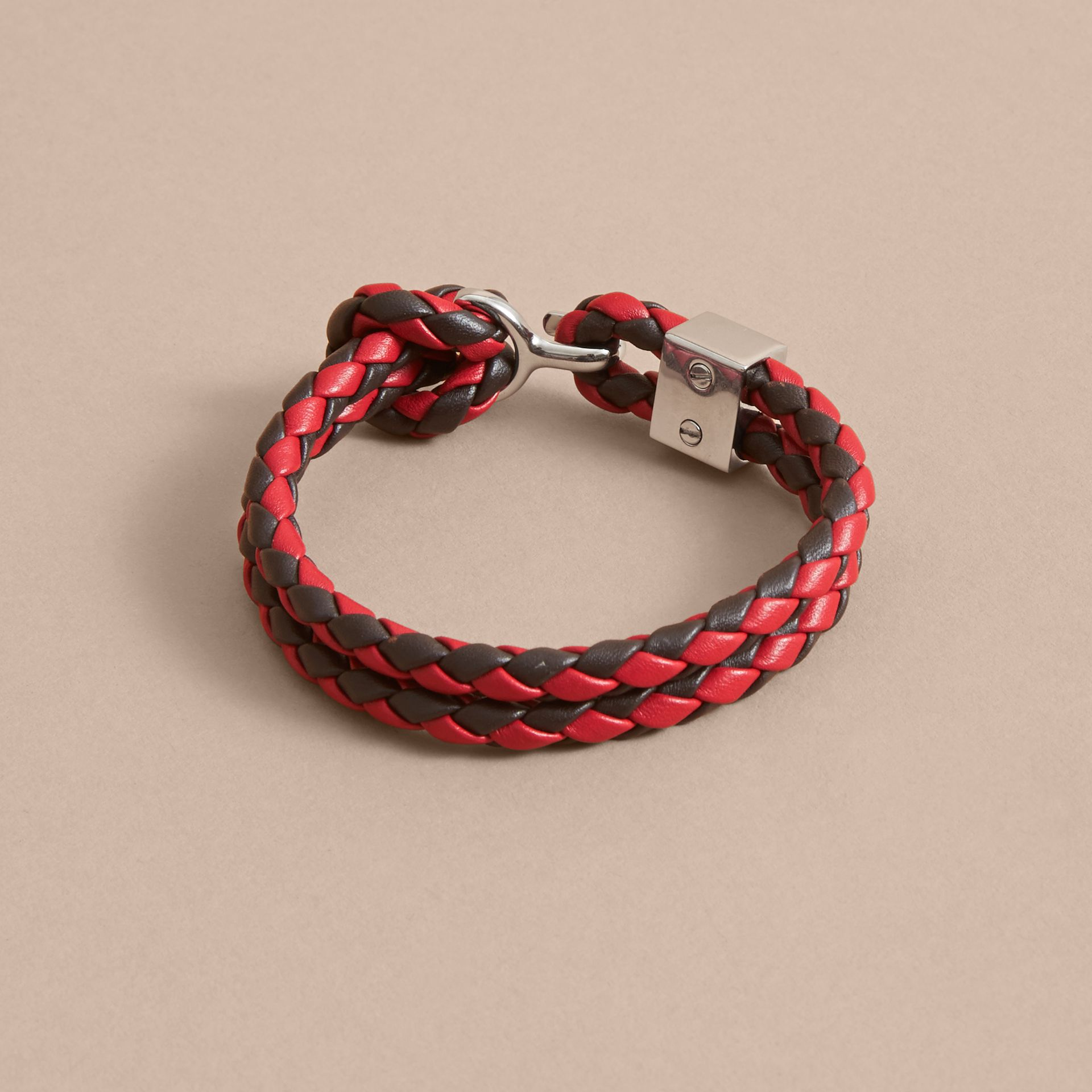 Two-tone Braided Leather Bracelet in Peppercorn/coral Red - Men | Burberry Australia - gallery image 3
