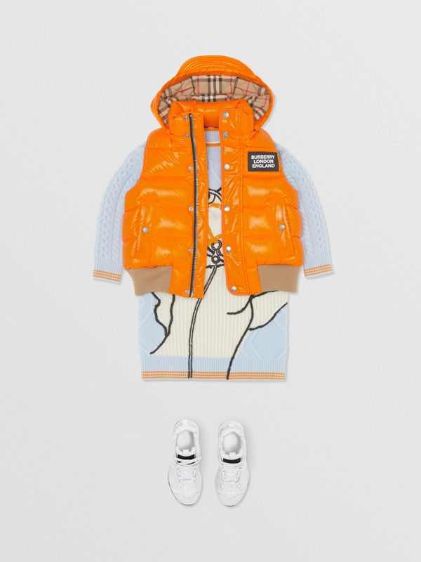 Detachable Hood Nylon Puffer Gilet in Bright Mandarin | Burberry Australia - cell image 3