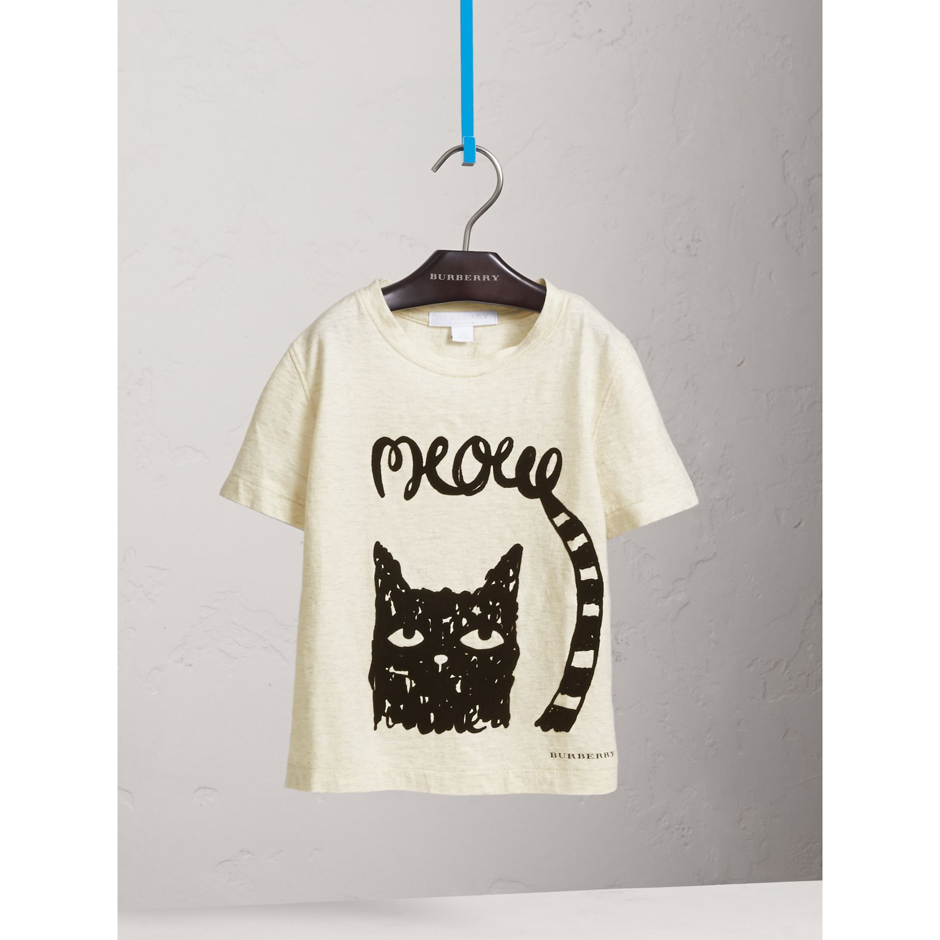 Meow Print Cotton T-shirt in Natural Melange - Girl | Burberry - gallery image 3