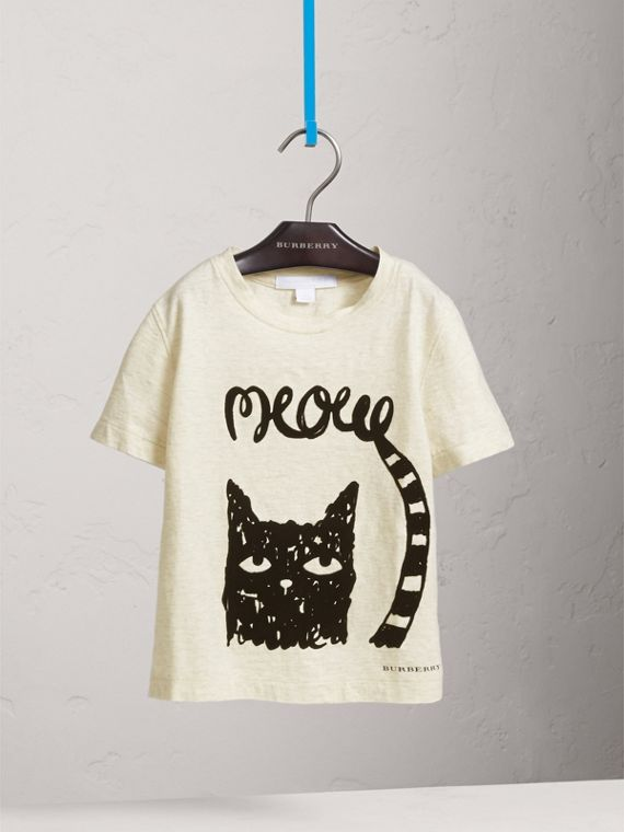 Meow Print Cotton T-shirt in Natural Melange - Girl | Burberry - cell image 2