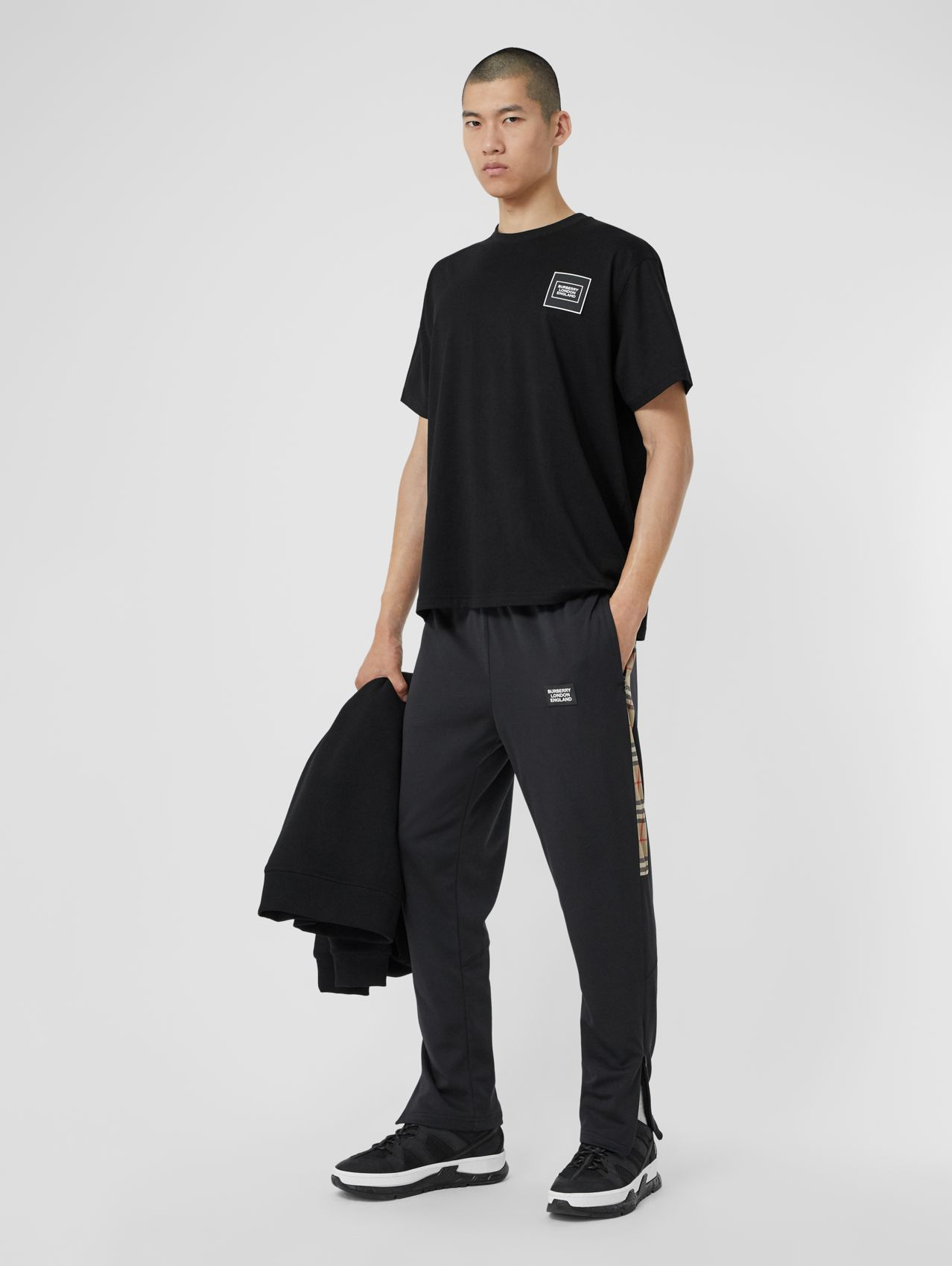 Vintage Check Trim Technical Twill Trackpants in Black
