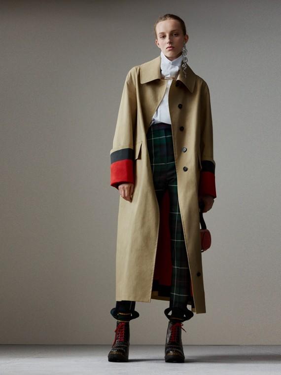 Car coat de popeline de algodão com costuras seladas (Bege/vermelho)