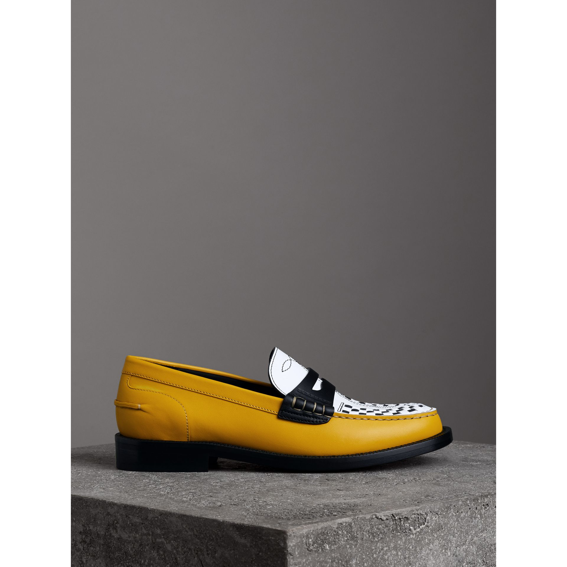 Woven-toe Leather Loafers in Saffron Yellow - Women | Burberry United States - gallery image 3