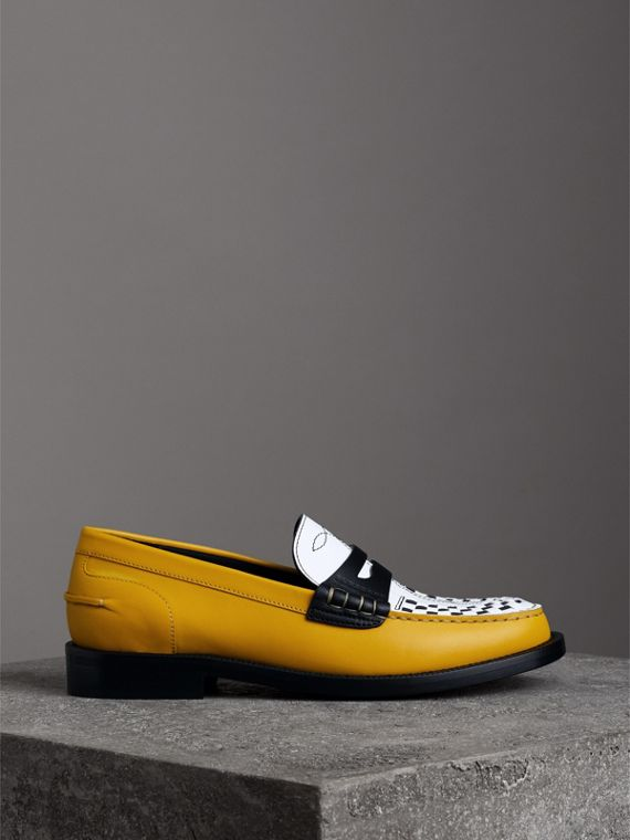 Woven-toe Leather Loafers in Saffron Yellow - Women | Burberry United States - cell image 3