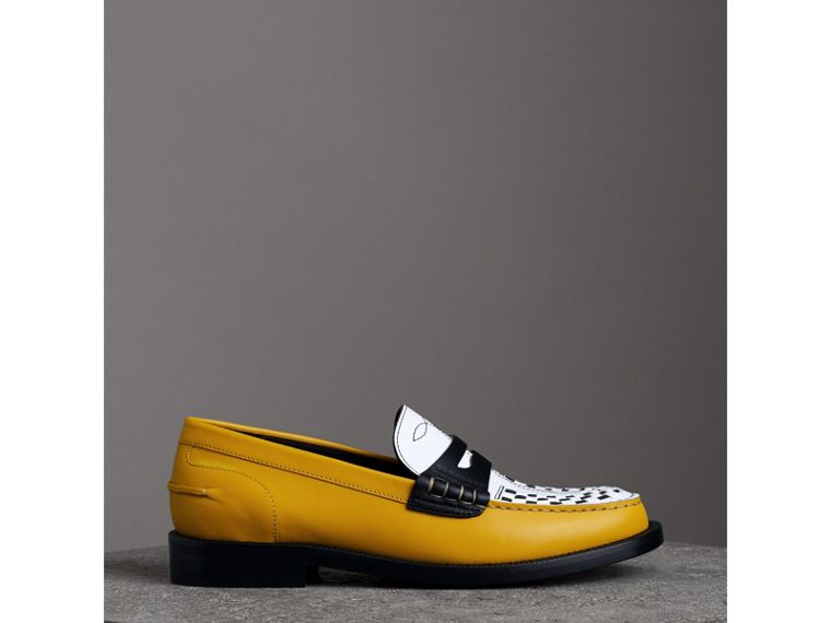 Woven-toe Leather Loafers in Saffron Yellow - Women | Burberry - cell image 4