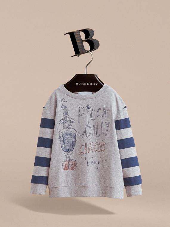 Long-sleeve London Icons Print Cotton T-shirt in Bright Navy Blue - Boy | Burberry - cell image 2