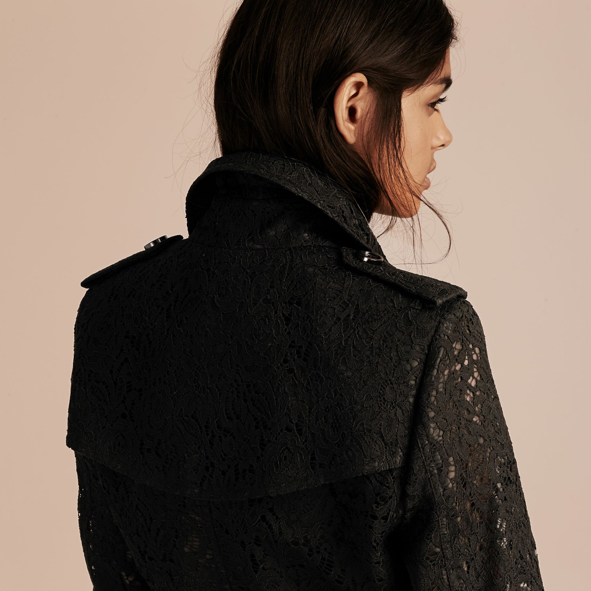 Black Italian Lace Trench Coat - gallery image 7