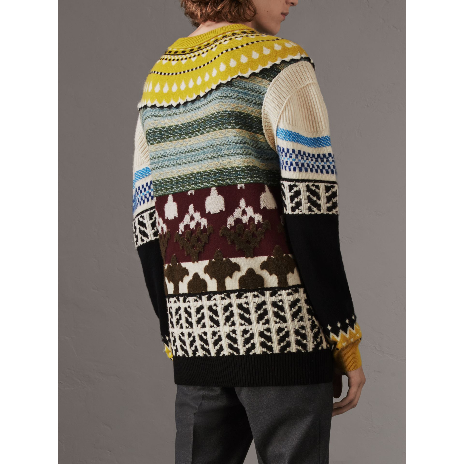 Fair Isle Multi-knit Cashmere Wool Sweater in Pine Green - Men | Burberry - gallery image 3