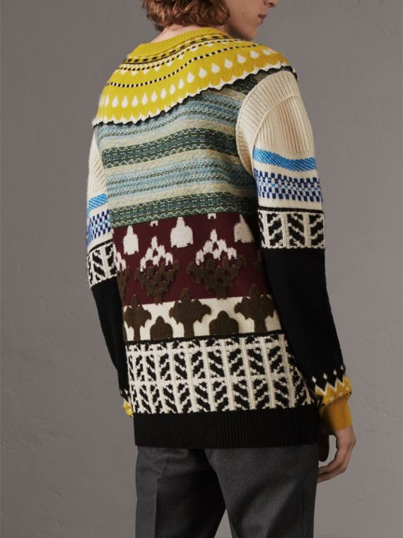 Fair Isle Multi-knit Cashmere Wool Sweater in Pine Green - Men | Burberry - cell image 2