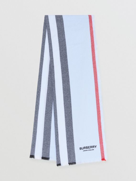 Icon Stripe Wool Cashmere Scarf in Pale Blue