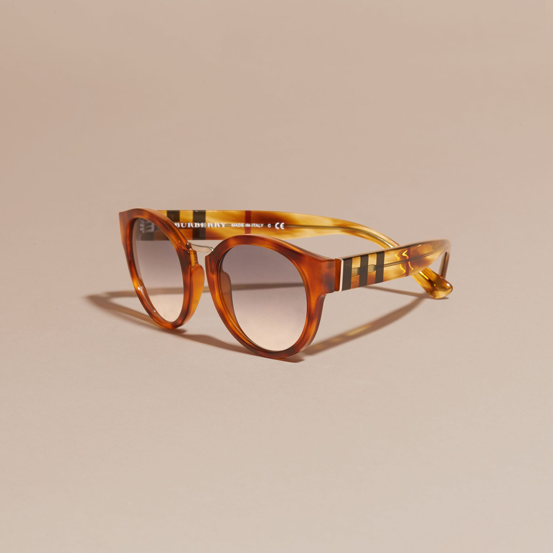Check and Camouflage Detail Round Frame Sunglasses in Light Russet Brown - Women | Burberry Australia - gallery image 3