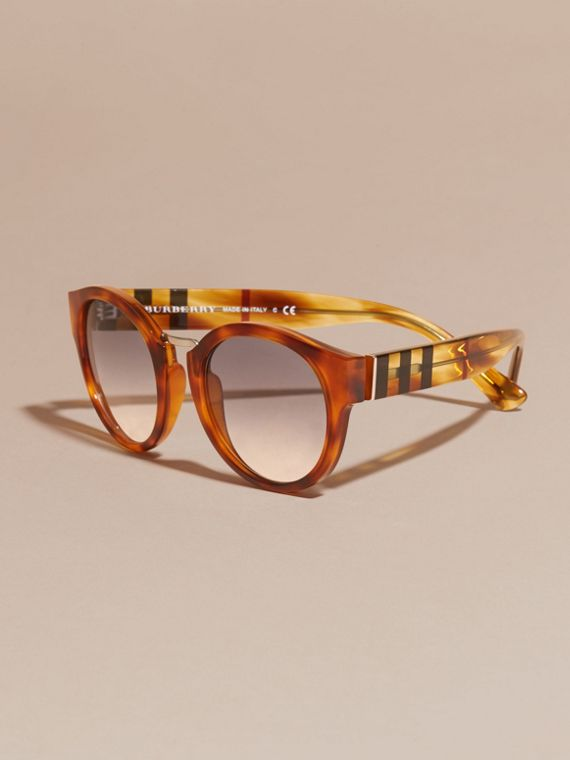 Check and Camouflage Detail Round Frame Sunglasses in Light Russet Brown - Women | Burberry - cell image 2