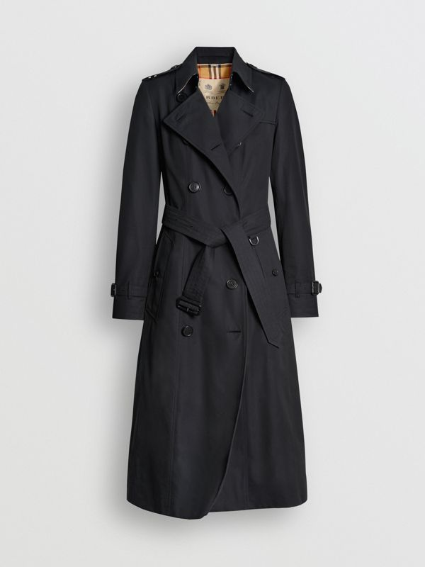 The Long Chelsea Heritage Trench Coat in Midnight - Women | Burberry Hong Kong - cell image 3