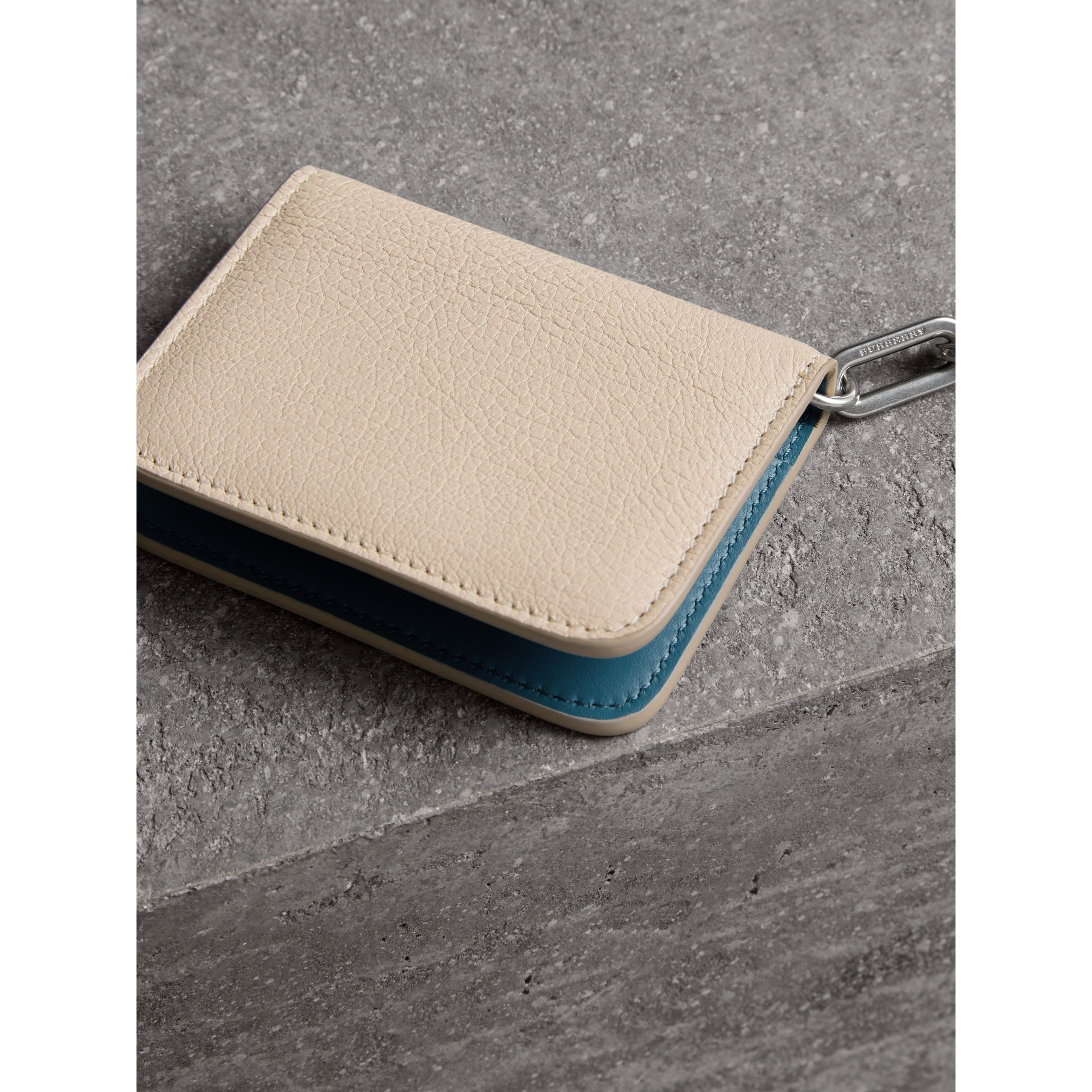 Link Detail Leather ID Card Case Charm in Stone | Burberry - gallery image 2