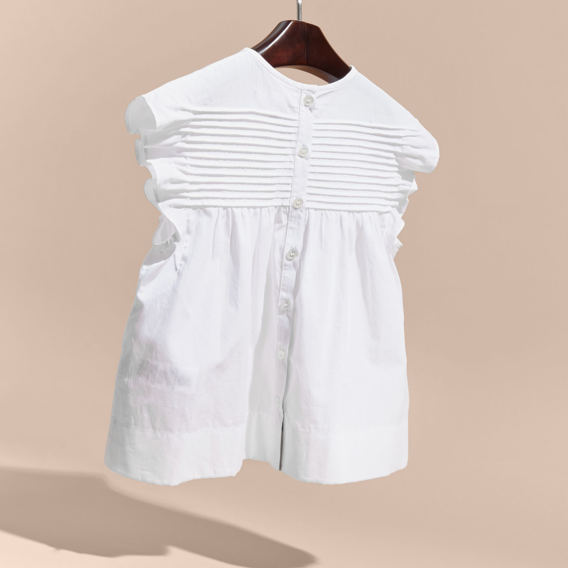 White Pleat and Ruffle Detail Cotton Shirt - gallery image 4