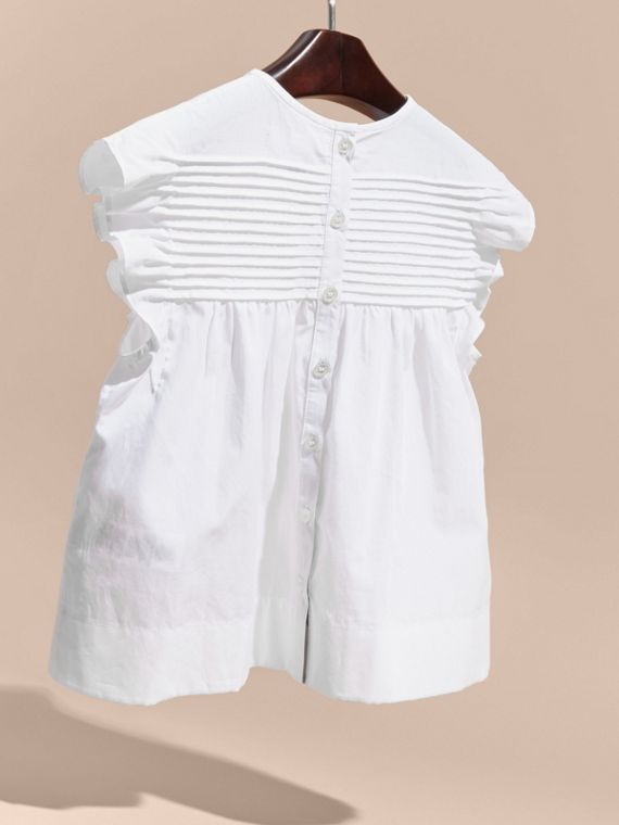 White Pleat and Ruffle Detail Cotton Shirt - cell image 3
