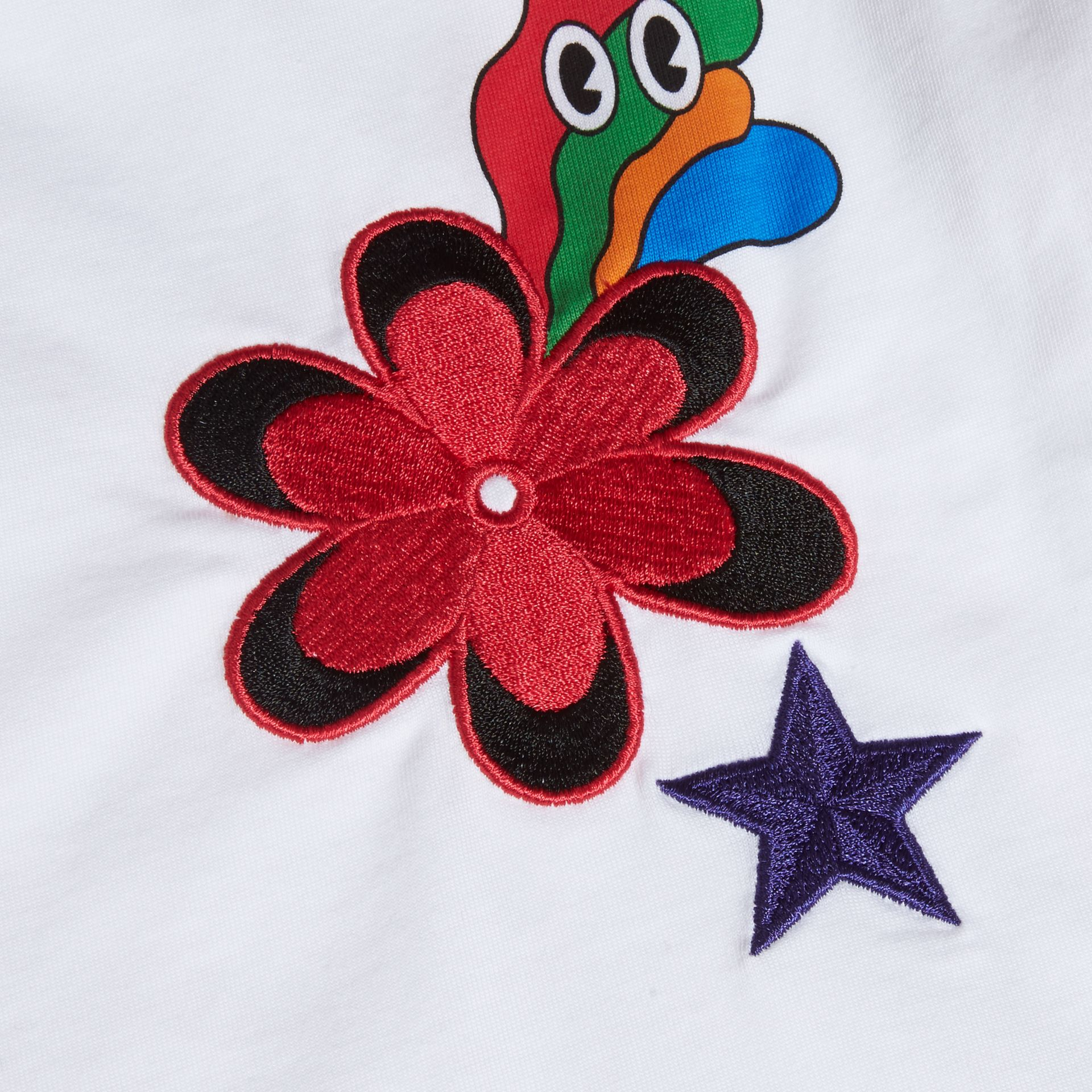 White Embroidered Flower Burst Graphic Cotton T-Shirt - gallery image 2