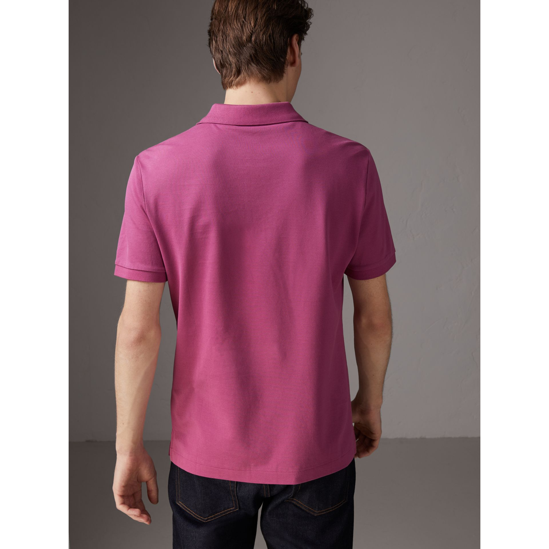 Cotton Piqué Polo Shirt in Pink Azalea - Men | Burberry - gallery image 2