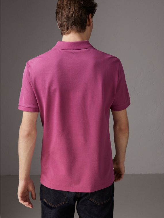 Cotton Piqué Polo Shirt in Pink Azalea - Men | Burberry United Kingdom - cell image 2